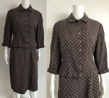 VINTAGE 1950s Wetherall London brown wool ladies SKIRT SUIT M L 1960s 12 14 M L