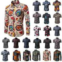 Plus Size Mens Hawaiian Floral Shirt Dress Aloha Party Fancy Dress Shirt Blouse