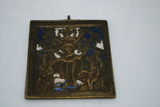 antique Russian icon bronze two colors of enamel