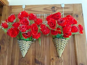 2 Sets Silk Artificial red Colour Rose Flowers & Hanging Basket Decorations