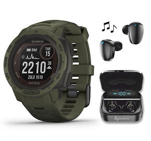 Garmin Instinct Solar Premium GPS Smartwatch Tactical Edition with Earbuds