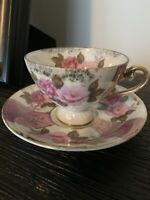 Vintage Lefton China Large Pink Rose Gold Gilt Demitasse Tea Cup Saucer C&S