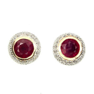 Round Red Ruby 5mm Cubic Zirconia 2-tone 925 Sterling Silver Stud Earrings