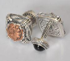 Konstantino Mens Alexander Coin Cufflinks Onyx Sterling Silver Copper New