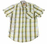 Projek Raw Mens Shirt Green Blue Size Small S Button Down Plaid Printed $49 #005