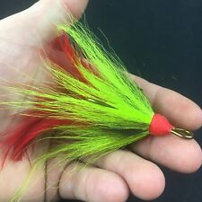 Chartreuse Red Feather Mustad Fishing Musky Pike Treble Hooks Size 7/0 (1 Pk)