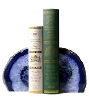 Amoystone Agate Bookends Pair Blue Color 4-6 lbs Dyed Natural Crystal Gemstone