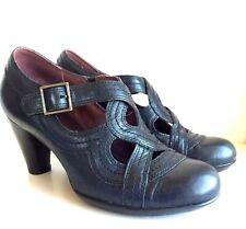 e23f8b1de3e NEW Indigo by Clarks Women s Black Leather Vintage Style Heels Pumps Buckle  7M