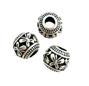 5 Large 14.5x13mm Tibetan Silver Hollow Butterfly Design 6mm Hole Focal Beads