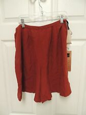 NEW Carole Little Knitwear Petites Brunt Amber Red 100% silk Shorts Size 12