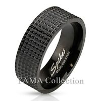 Unique FAMA 8mm  Black Stainless Steel Pyramid Spikes Band Ring Size 9-13