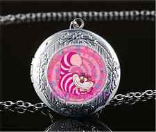 Pink Cheshire Cat Photo Glass Tibet Silver Chain Locket Pendant Necklace