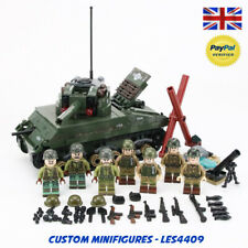 US M4 Sherman Tank & 7pc Soldier Army WWII Custom Minifigures + FREE LEGO BRICK
