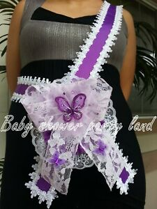 Baby Shower for Girl Mom To Be Sash Purple With Butterflies Ribbon & Corsage