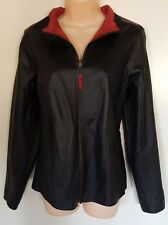 Womens M Jacket Vegan Faux Leather Suede Reversible Black Red Coat Blazer Zip