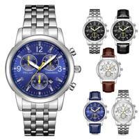 Men Business Watch 3 Eyes Dial Date Display Steel Leather Quartz Wristwatch