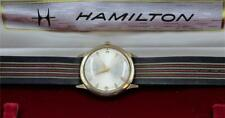 1970s VINTAGE HAMILTON THIN-O-MATIC 10K SOLID GOLD MENS WRISTWATCH IN BOX