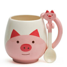 DECOLE Japan Ceramic Kawaii Pink Pig Tea Coffee Mug Cup with Spoon Gift Box Set