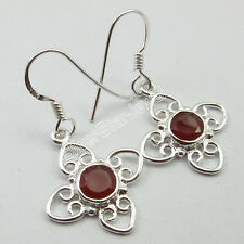"""Gemset Urban Style Earrings 1.3"""" New 925 Pure Silver Authentic Red Carnelian"""