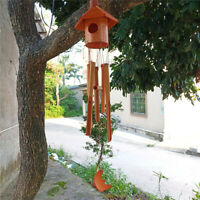 Classic Birdhouse Wind Chime - Bamboo Wooden Wood Outdoor Medium & Relaxation