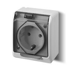 1 x Presa di corrente grigio Scatola da parete Ambiente umidificato IP44 16A