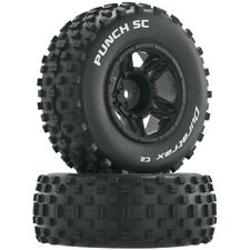 NEW Duratrax Traxxas Slash Punch C2 Mounted Front Tires / Black Wheels (2) DT...