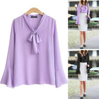 Womens Chiffon Bow Tie Shirt Long Sleeve Blouse Ladies Office OL Work Plain Tops