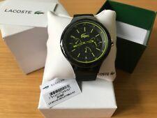 Lacoste 2010867 Men's Borneo Chronograph Silicone Strap Black, Green Watch - New