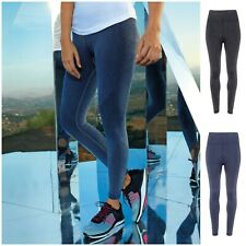 Donna Jeggings in Denim Look Leggings Da Donna Sport Corsa Palestra Fitness Bottoms Pantaloni