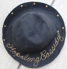 Rare Vintage Hopalong Cassidy Black Felt Chainstitch Hat Cowboy Western