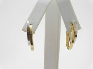 14K White Yellow Gold Beveled Polish Finish Hoop Earrings JA0334