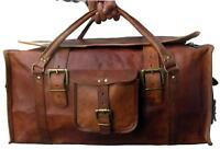 """24"""" Large Mens Vintage Genuine Leather Flap Duffel Carry On Weekender Travel Bag"""