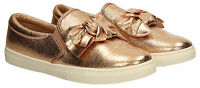 Womens Metallic Glitter Trainer Bow Loafers Ladies Rose Gold Flat Shoes Sneakers
