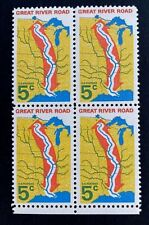US Stamps, Scott #1319 5c Great River Road Issue 1966 Block of 4 XF M LH