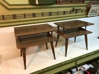 Mid Century Modern Occasional Double Stack End Tables Pair Danish Walnut Formica