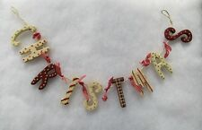 Wooden Christmas Garland Decoration Red & Cream With Red & White Gingham Ribbon