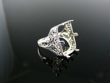 5399 RING SETTING STERLING SILVER, SIZE 7, 17.5X13.5 MM EMERALD CAB STONE