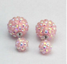 GLITTER SPARKLING PINK SHAMBALLA  STYLE DOUBLE BALL STUD EARRINGS 16MM