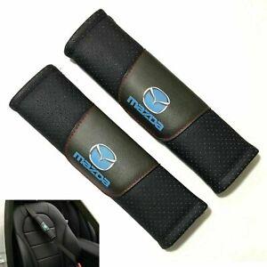 2Pcs MAZDA Black Leather Auto Car Seat Belt Covers Shoulder Pads Cushion