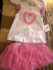 Toddler Girls 2pc Outfit, Shirt & Tutu Skort, Tulle Heart, PinkWhite, Dillards