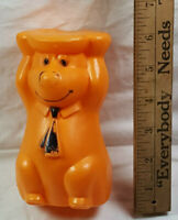 Orange Yogi Bear Blow Mould Figurine Vintage Plastic Rare