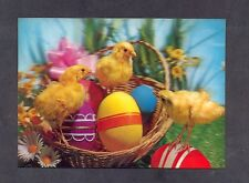 3D Lenticular  stereo Postcard,  chicken and eggs - Easter