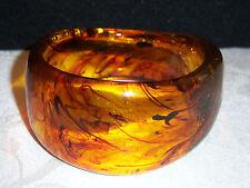 Vintage Thick Dimensional Tortoise Marbled Amber Bangle Bracelet