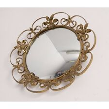 Vintage Round Convex Wall Mirror with Gold Floral Metal Frame