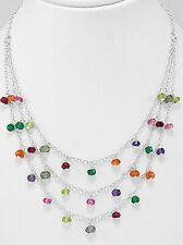 "Rainbow Dangling Beaded Necklace Solid Sterling Silver 15"" Long 105mm 5.08g"