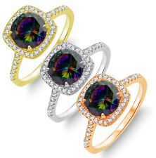 Brilliant Simulated Mystic Rainbow Topaz Diamond Halo Sterling Silver Ring