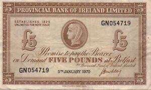 5th January 1970 Provincial Bank of Ireland £5 Banknote. GN054719