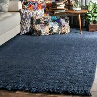 nuLOOM Natural Fiber Hand Woven Chunky Loop Jute Area Rug in Navy Blue