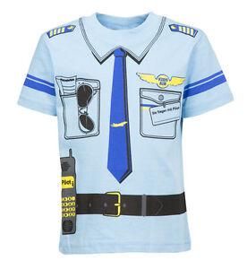 Kinder Uniform  Kostüm T-Shirt * Pilot   92/98  bis 146/152