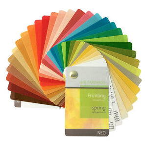 """Stoff-Farbpass, 30 Farben, Frühling """"Neo"""" zur Farbberatung - Fächer Frühlingstyp"""